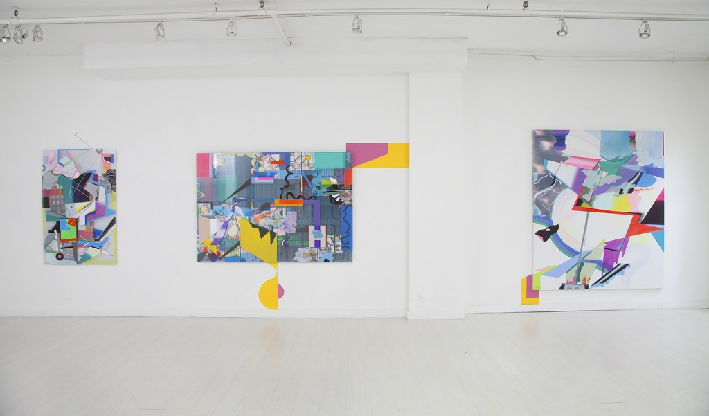 "From left to right: ""Cover and Protect"" (mixed media on Triplewall, 152 x 100 cm);