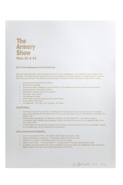 Liz Magic Laser, 'The Armory Show 2013 Commissioned Artist Guidelines', 2013, The Armory Show Print Archive