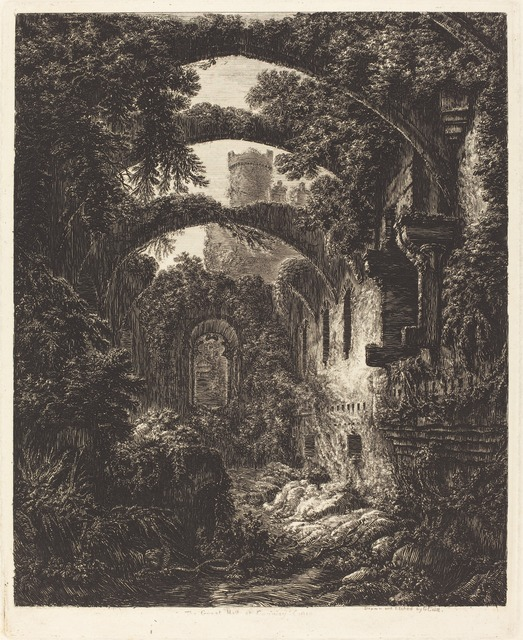 George Cuitt the Younger, 'The Great Hall at Conway Castle', Print, Etching, National Gallery of Art, Washington, D.C.