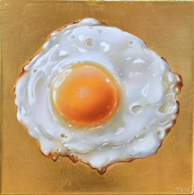 Tjalf Sparnaay, 'Golden Egg', 2018, Painting, Oil & 24k gold leaf on linen, Louis K. Meisel Gallery