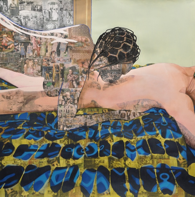 Njideka Akunyili Crosby, 'Thread', 2012, Drawing, Collage or other Work on Paper, Acrylic, charcoal, pastel, color pencils, and xerox transfers on paper, New Museum
