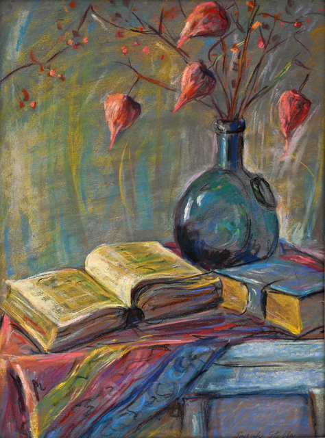 , 'Still Life of Books and Chinese Lanterns,' 1920-1930, Robert Funk Fine Art