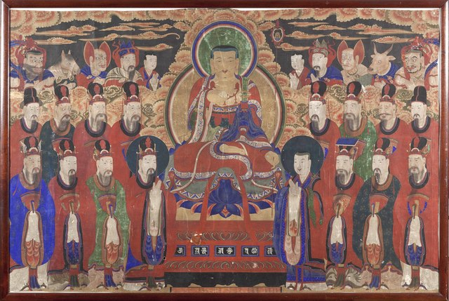 , 'Chichang Bosal (Ksitigarbha Bodhisattva) and the Ten Kings of Hell,' Late 19th or early 20th century, Newark Museum