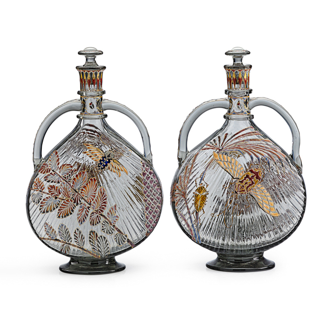 Galle, 'Exceptional Pair Of Two-Handled Japonesque Bottles With Moths, Beetles, And Palm Fronds, France', Late 19th C., Design/Decorative Art, Enameled And Gilt Glass, Rago/Wright