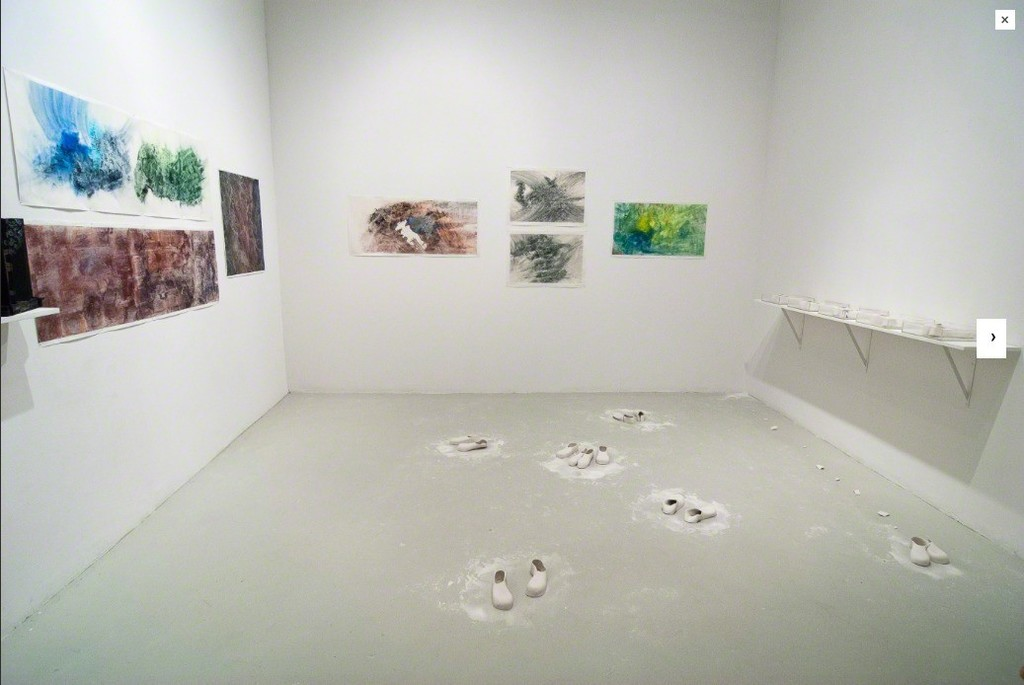 Installation view. Meiling Liu and HsiangLu Meng, Being Here, 14 August - 13 September, 2015. Cuchifritos Gallery, New York