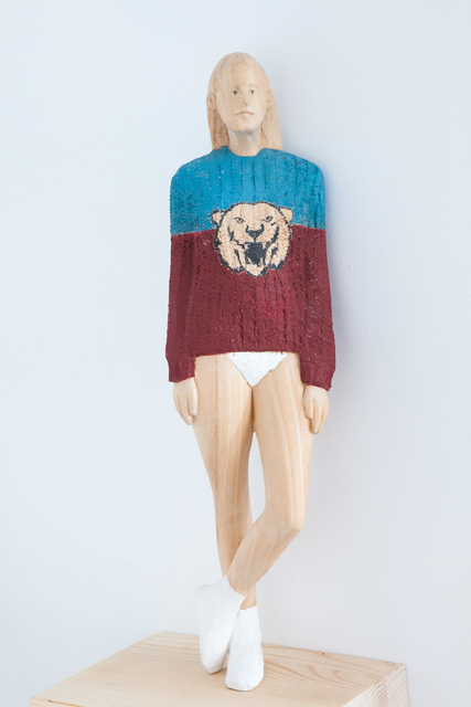 Antonio Samo, 'Girl with lion', 2015, Sculpture, Linden and fir wood, SET ESPAI D'ART