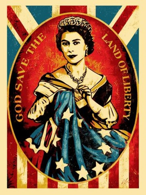 Shepard Fairey, 'God Save the Queen / God Save the Land of Liberty', 2012, Print, Screen print on cream speckle tone paper. signed. dated. numbered. unframed., Alpha 137 Gallery Gallery Auction