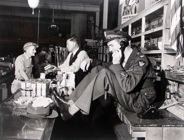 Peter Stackpole, 'Jimmy Stewart Talking Behind Counter at His Father's Hardware Store While His Father Chats with Customer upon Stewar's Return from WWII, Indiana, PA', 1947, Contessa Gallery