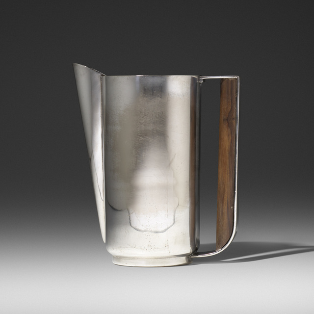 Friedman Silver Company, 'Silver Style Pitcher', 1928, Design/Decorative Art, Electro-plated nickel silver, rosewood, Rago/Wright