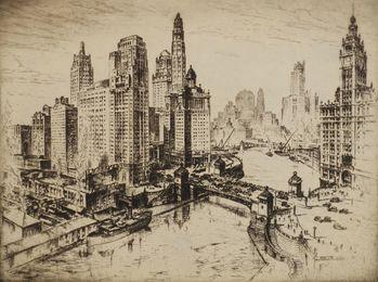 Michigan Avenue Bridge, Chicago, Mather Tower, Chicago and American sky scraper