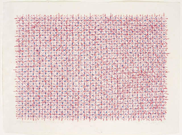 Ding Yi 丁乙, 'Appearance of Crosses 95-B58', 1995, Drawing, Collage or other Work on Paper, Pastel on paper, Padiglione d'Arte Contemporanea (PAC)