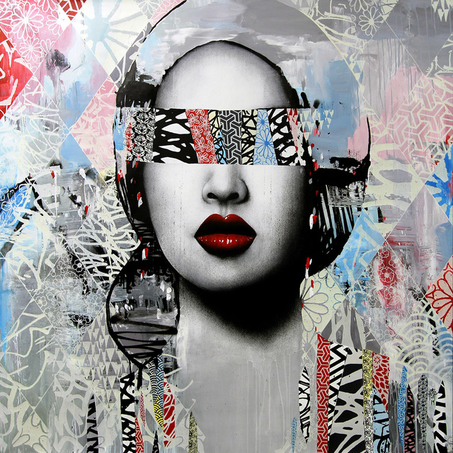HUSH, 'Imposing I', 2019, Mixed Media, Acrylic paint, Screen print, Spray paint & Ink on Belgium Linen, Corey Helford Gallery