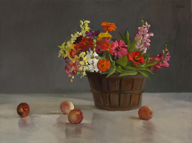 , 'Zinnias, Snapdragons and Fruit,' 2017, Grenning Gallery