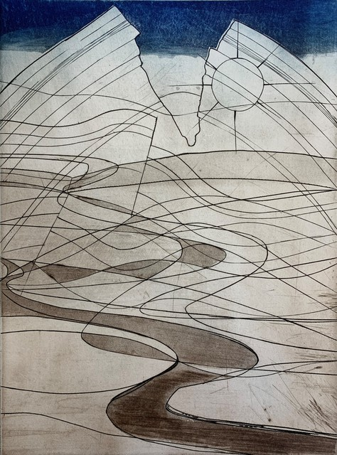 """Stanley William Hayter, 'Land Rise, from the """"Death of Hektor"""" Portfolio', 1979, Print, Intaglio print from engraving, soft-ground etching, etching, and roulette on copper plate printed in burnt sienna and blue ink., Washington Color"""