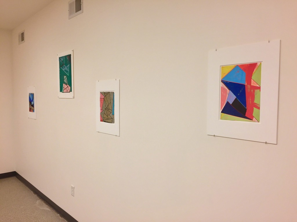 "Installation view 7 – l to r, ""Stacked spaces – Imaginary places #4"", ""Passing Over"", ""Fictive Monument #3"" and ""Slippage – Space #1"""