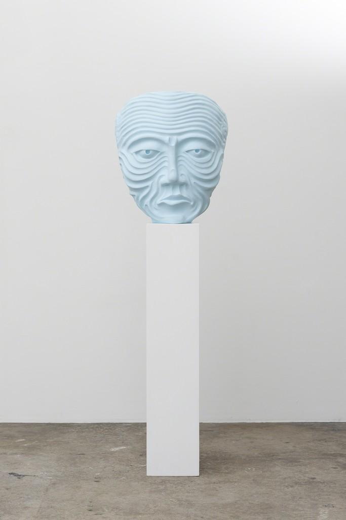 Rikard Thambert Blue Parent, 2018 Cast plaster, wood, acrylic paint, oil paint 168 x 51 x 48 cm