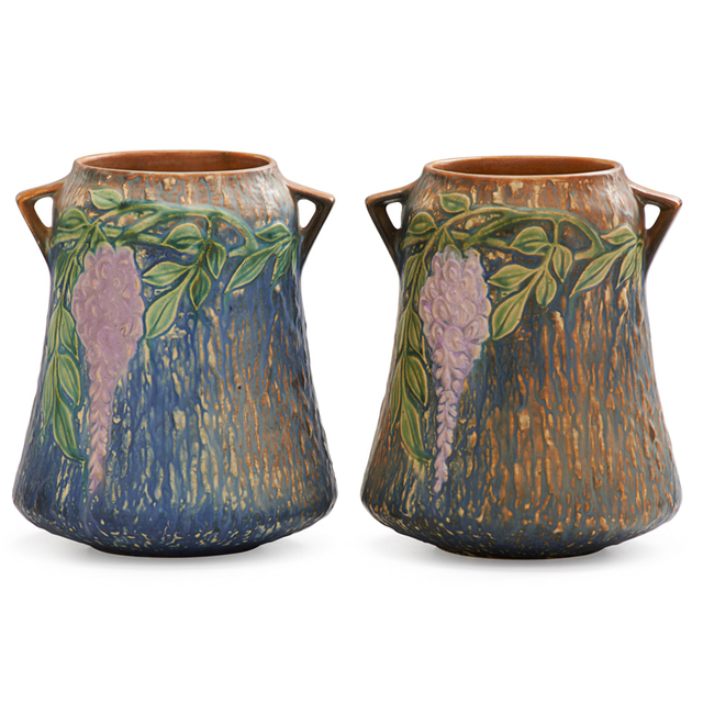 """Roseville Pottery, 'Two 8"""" Blue Wisteria Vases', 1933, Rago/Wright"""