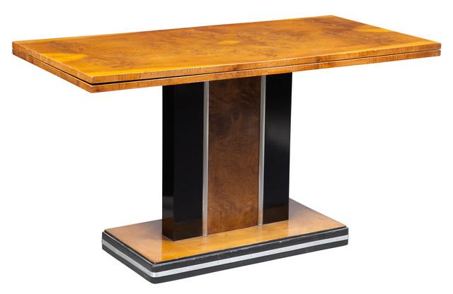 'Art Deco Part Ebonized Mahogany Dining Table', 1930s, Design/Decorative Art, Rectangular with fold over top on pedestal base., Doyle