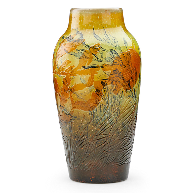 Galle, 'Fine Vase With Aquatic Scene, France', Late 19th/Early 20th C., Rago
