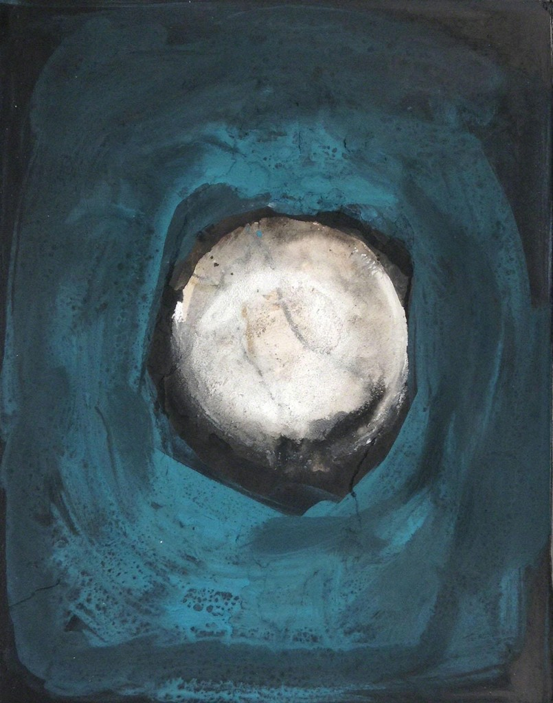 Margareth Dorigatti, Luna/Mond 10, 2014, mixed media on paper on wood, 64x54 cm