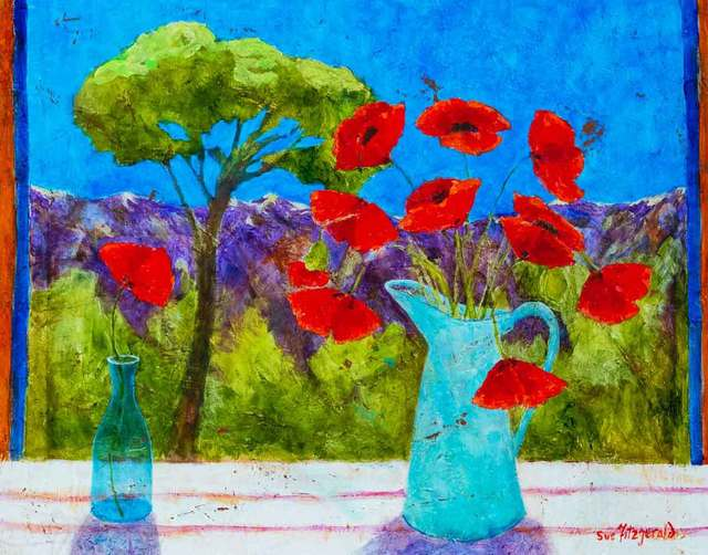 , 'Cevennes Mountains and Poppies,' 2018, Catto Gallery