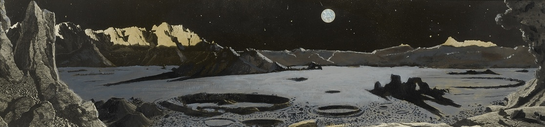 """THE MOON AS IT SHOULD HAVE BEEN"". STUDY FOR ""LUNAR LANDSCAPE"", CA 1957, A 40 BY 10 FOOT MURAL COMMISSIONED FOR THE BOSTON SCIENCE MUSEUM'S HAYDEN PLANETARIUM, WHICH WAS UNVEILED ON MARCH 28, 1957"