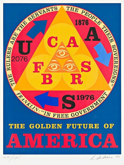 Robert Indiana, 'The Golden Future of America (Sheehan, 92)', 1976, Print, Silkscreen on Arches paper, Alpha 137 Gallery