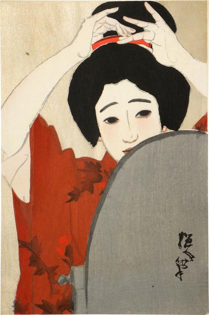 Kitano Tsunetomi, 'Seasons of the Pleasure Quarters: no. 4, Shinchi in Winter, Before the Mirror', ca. 1918, Scholten Japanese Art