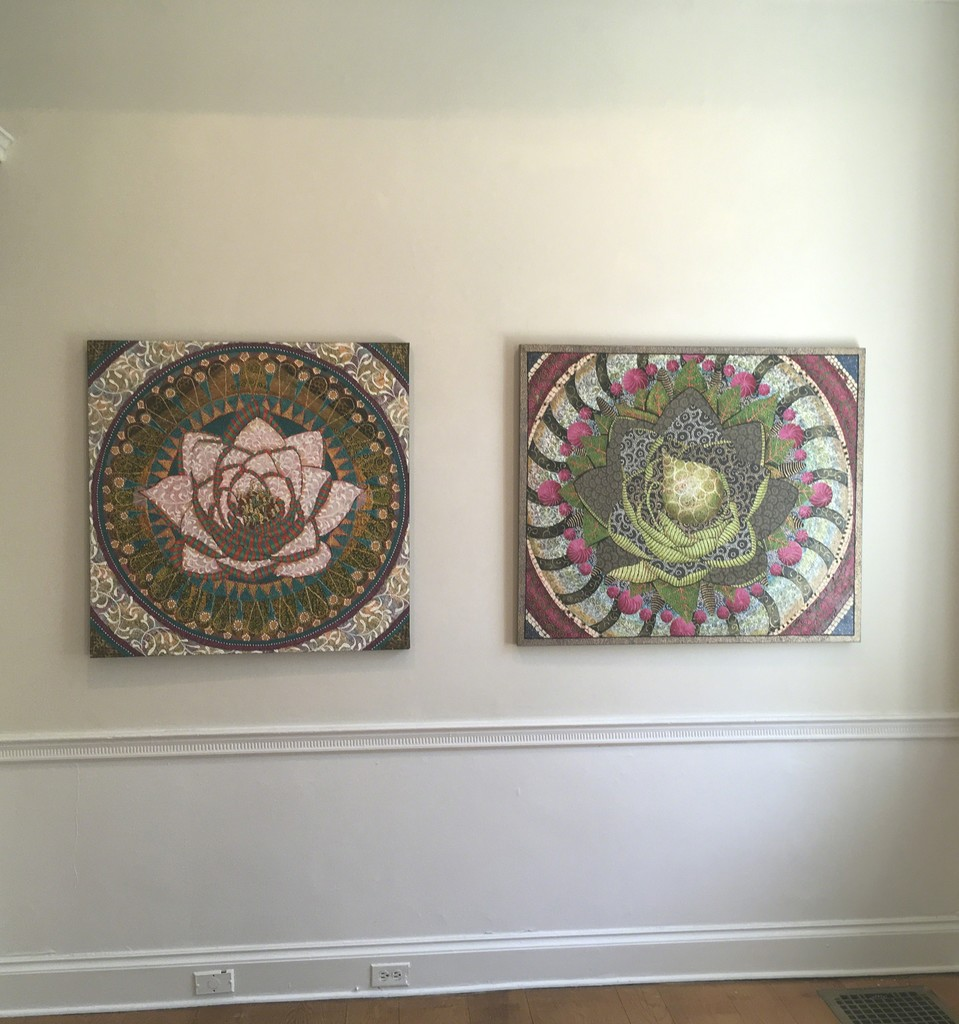 """On the left: Camu Camu, Oil on Canvas, 36x36  by Amy Cheng.   On the right: Closer and Closer, Oil on Canvas, 38x42 by Amy Cheng.   On view in Flora Fantastica! at Wave Hill from July 16-August 27, 2017.  """"Sumptuous, intricate, ornamented, my current paintings are richly referential - they call to mind a range of associations from mandalas, the cosmos, cells, lace, brocade and more.""""  Amy Cheng"""