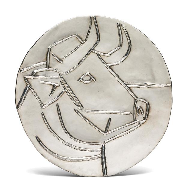 Pablo Picasso, 'Tête de taureau (Bull's Head)', 1956, Design/Decorative Art, Repoussé silver plate., Phillips