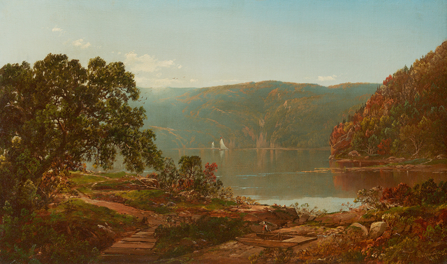 William Louis Sonntag, 'Morning on the Cro' Nest, Hudson River', 1864, Painting, Oil on canvas, Questroyal Fine Art
