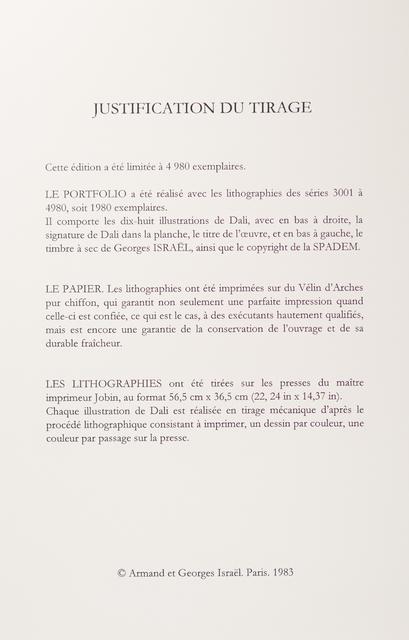 """Salvador Dalí, 'Portfolio 18 Lithographs """"Les Chevaux de Dali"""" (""""The Horses of Salvador Dali"""")', 1983, Print, Vélin d'Arches Paper, Art Lithographies"""