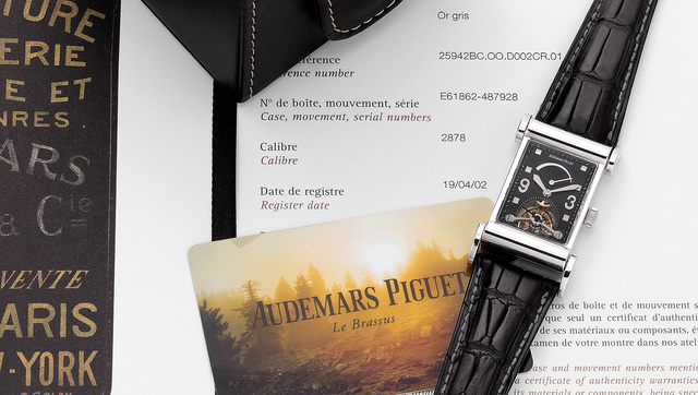 Audemars Piguet, 'A fine white gold rectangular shaped wristwatch with tourbillon, power reserve indicator, flexible lugs, service papers and box', 2002, Phillips