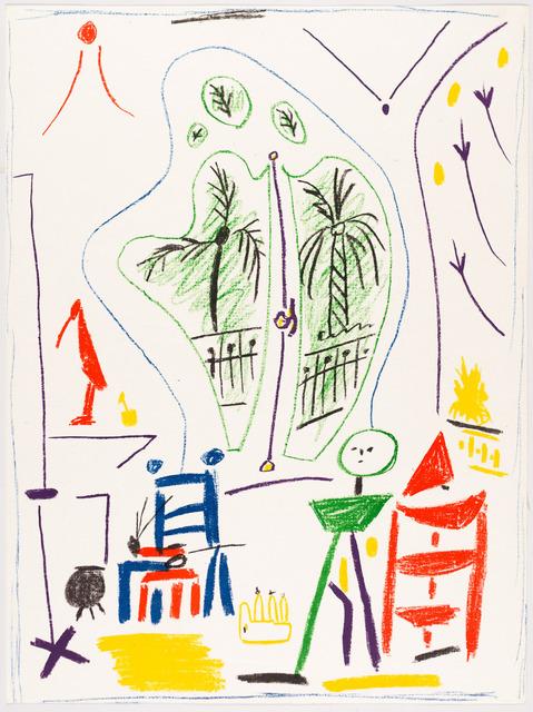 Pablo Picasso, 'DANS L'ATELIER DE PICASSO', 1956, Print, Original lithograph printed in six colors (blu, green, red, violet, yellow, black) Hodomura Japan paper., Christopher-Clark Fine Art