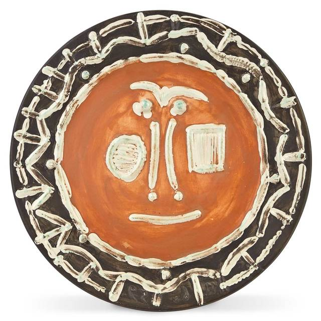 Pablo Picasso, 'VISAGE EN GROS RELIEF (A.R. 408)', 1959, Design/Decorative Art, Painted and partially glazed white ceramic dish, Doyle