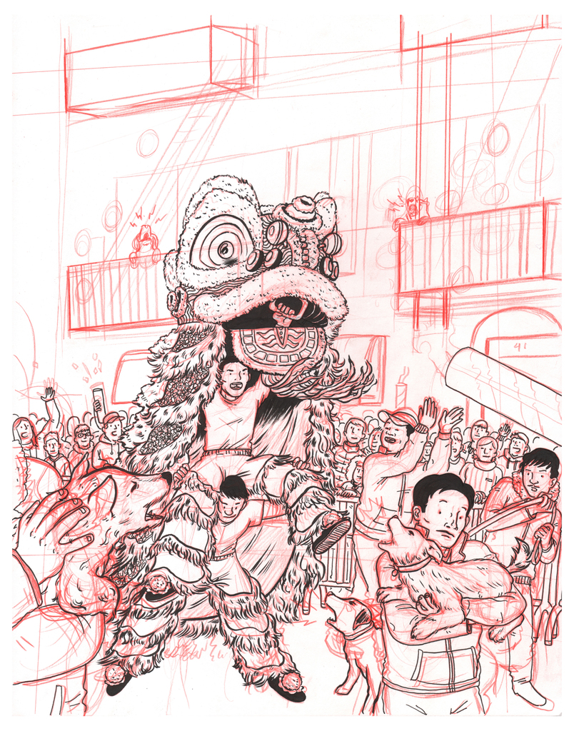 Jeremy Nguyen, Year of the Dog, 2018, Pencil and Ink on Bristol.