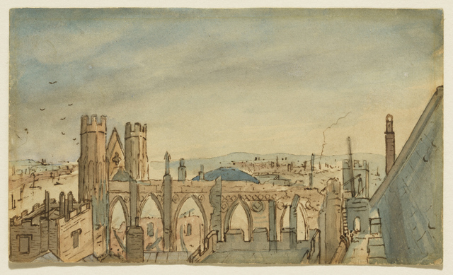 , 'The Houses of Parliament after the Fire,' 1834, Clark Art Institute
