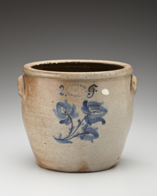 , 'Two-gallon crock with floral design; Conrad Haidle & Co., Union Pottery, Newark,' 1871, Newark Museum