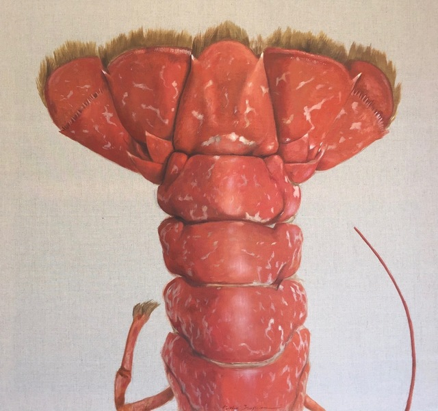 """Michel Brosseau, '""""La Queue"""" oil painting of Red Lobster Tail Painted on Exposed Linen', 2017, Eisenhauer Gallery"""