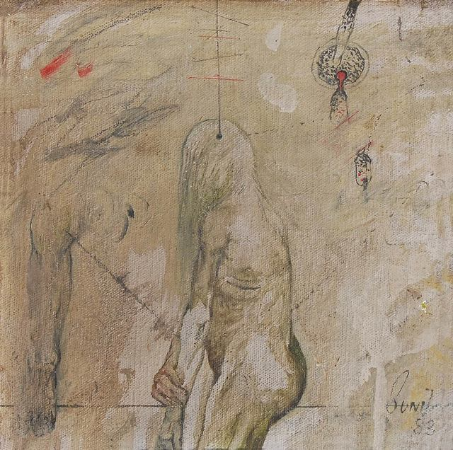 """, 'Confrontation Series, Nude, Oil on Canvas by Modern Indian Artist """"In Stock"""",' 1983, Gallery Kolkata"""