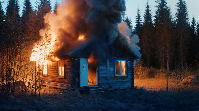 , 'Scenes from Western Culture, Burning House,' 2015, Luhring Augustine