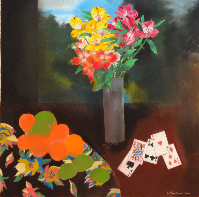 , 'Flowers in Gray Vase with Playing Cards,' , Wallace Galleries