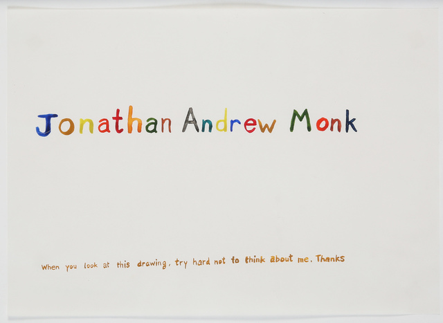 Jonathan Monk, 'Jonathan Andrew Monk', 1996, Drawing, Collage or other Work on Paper, Watercolor on paper, Giampaolo Abbondio