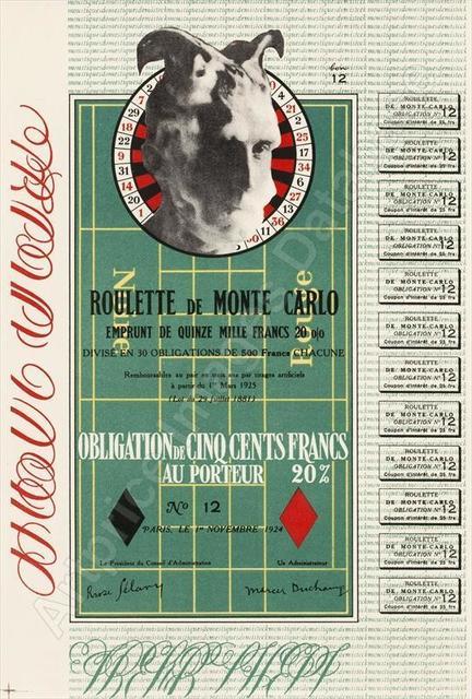 Marcel Duchamp, 'Obligation Monte Carlo / Monte Carlo Bond', 1938, Stubbs Fine Art