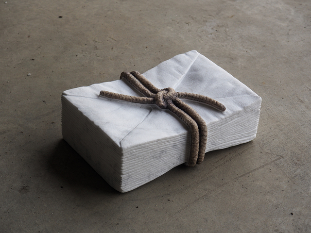 Valeria Vaccaro, 'Packet of letter', 2021, Sculpture, White Carrara marble and inks, Galleria Punto Sull'Arte