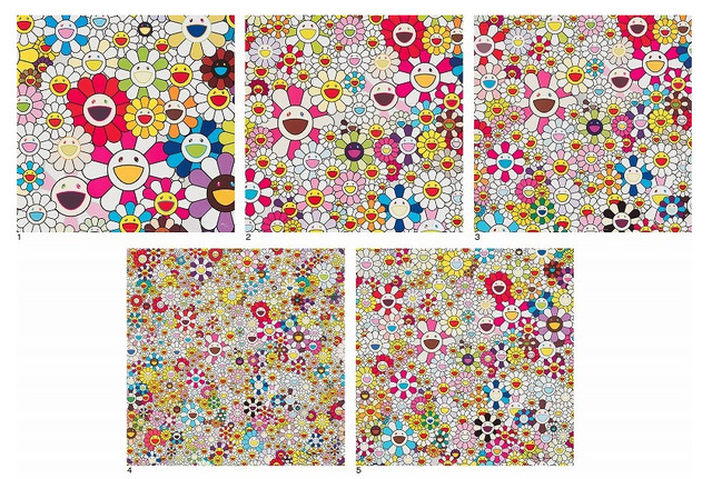 Takashi Murakami, 'Flowers Blossoming in this World and the Land of Nirvana', 2013, Print, Set of five offset prints, Lougher Contemporary
