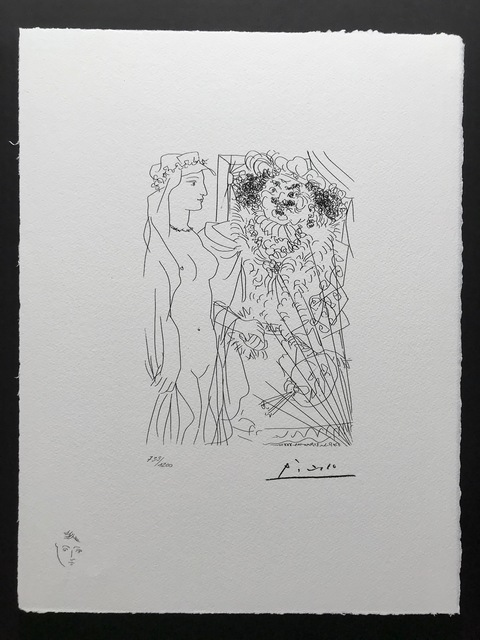 Pablo Picasso, 'Rembrandt tenant par la main une jeune femme au voile (Suite Vollard Planche XXXVI)', 1973, ByNewArt