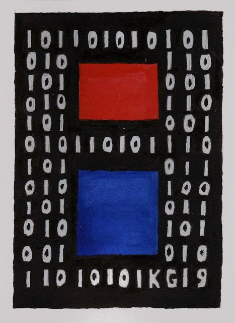 Ken Grimes, 'Untitled (Binary Code)', 2019, Drawing, Collage or other Work on Paper, Ink on paper, Ricco/Maresca Gallery