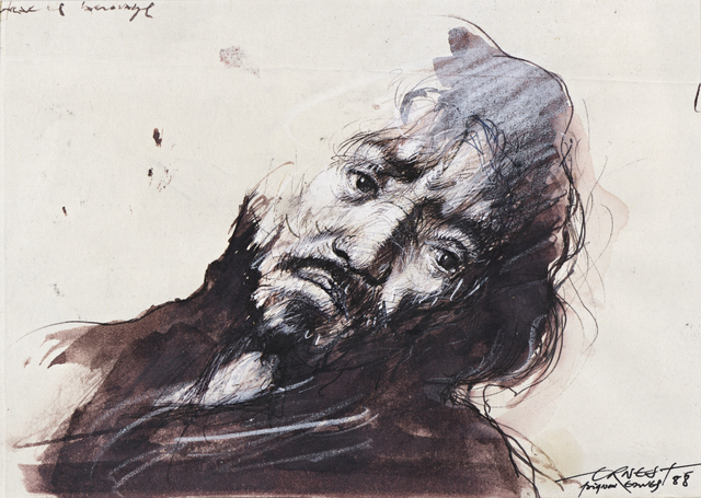 Ernest Pignon-Ernest, 'Etude pour Saint Matthieu de Caravage', 1988, Drawing, Collage or other Work on Paper, Ink and white chalk on paper, Millon