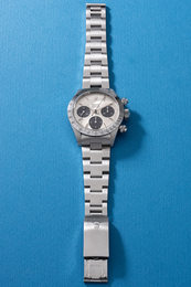 "A very attractive and highly rare stainless steel chronograph wristwatch with oversized ""Big Eye"" registers, bracelet and guarantee"